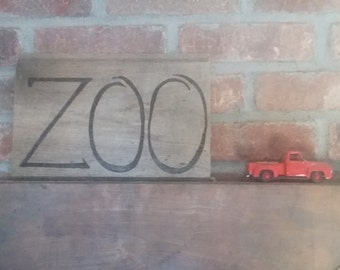 Zoo pyrography sign on weathered pine for yard or walls- wherever there are too many animals