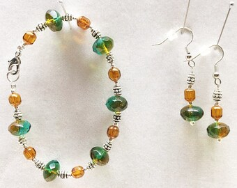 Czech Glass Earrings, Czech Glass Beads, Green Bracelet, Green Earrings, Amber Earrings, Amber Bracelet, Bracelet, Earrings,