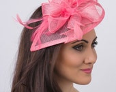 "Pink Fascinator - ""Penny"" Mesh Hat Fascinator with Mesh Ribbons and Bubblegum Pink Feathers"