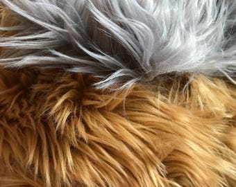 Gray & Caramel Faux Fur Scraps Mixture - DIY Costume Projects - Arts and Crafts - Ecofriendly