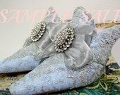 Sample Sale .. Something Blue Marie Antoinette Shoes. Sz US 9 1/2. Sz EU 40. Blue and Silver Lace Shoes . Something Blue Wedding Shoes