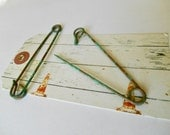 Vintage Large Safety Pin, Safety Pin, Vintage Clothes Pin, Patina Safety Pin, Metal Safety Pins