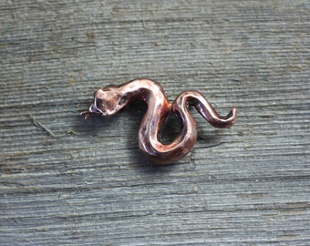 Little Snake copper brooch