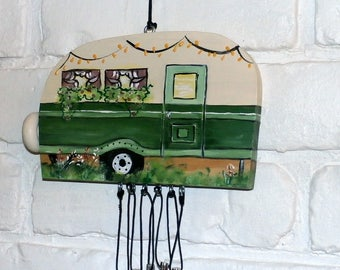 Hand Crafted Wood Travel Trailer Camper Wind Chime Hand Painted-Solid Aluminum Silvertone Chimes