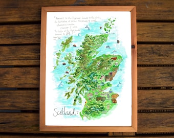 Map of Scotland, Scotland Map Illustration, Map Art, Giclee print, A3, Art Print, Bonny Scotland, Robert Burns