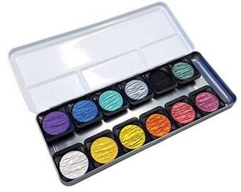12pcs rainbow finetec watercolor metal pen set