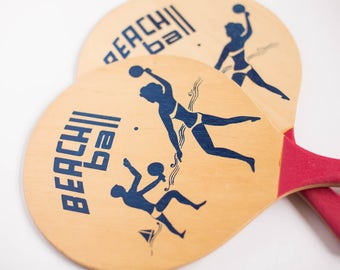 Vintage Paddle Ball, Wooden Paddle Ball, Beach Ball, Vintage Beach, Wooden Paddle Ball Set