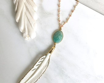 Long Gold Leaf Necklace. Layering Necklace. Amazonite Stone Feather Necklace. Beaded Necklace. Jewelry. Boho Jewelry. Gold Pink Necklace.