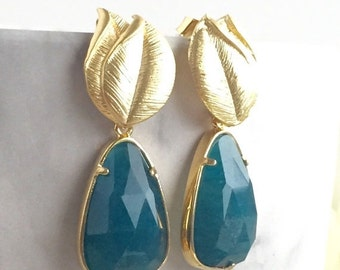 Teal Green Teardrop and Gold Leaf Post Earrings. Bridesmaid Earrings. Christmas GIft. Drop Earrings. Fashion Earrings. Gift.