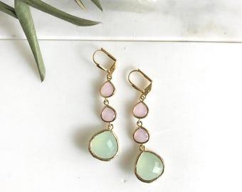 Light Mint and Soft Pink Long Jewel Earrings in Gold. Dangle. Drop.  Bridesmaid Earrings. Gem Dangle Earrings. Wedding. Modern Fashion.