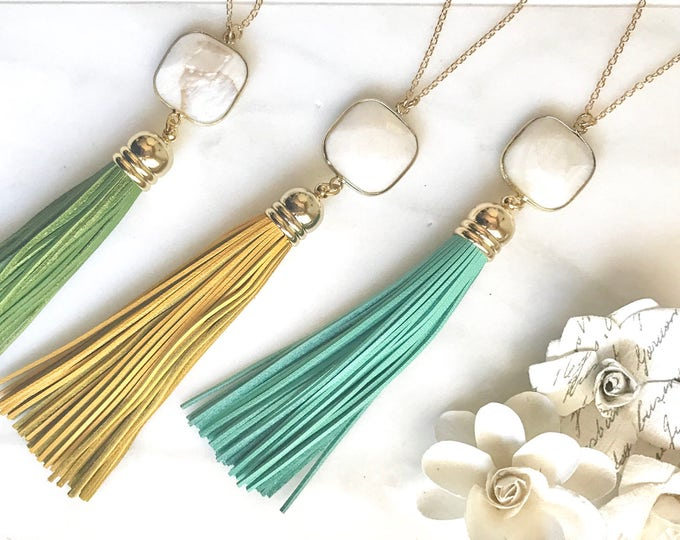 Tassel Necklace. Leather Tassel Necklace. White Stone and Aqua Mustard or Green Tassel Necklace. Long Tassel Necklace. Boho Tassel Jewelry.