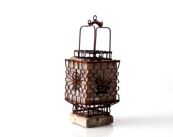 SALE Chinese lantern, vintage Good Luck decor, square lantern