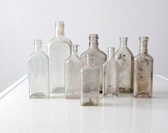 antique apothecary bottles, glass bottle collection 8 pc