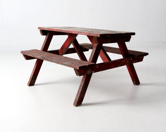 vintage children's picnic table, kid's rustic red wood outdoor table