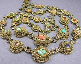Chinese Export Gilt Brass Filigree Rosette and Semi Precious Stone Necklace, Double Strand Statement Necklace, Boho, Vintage Asian