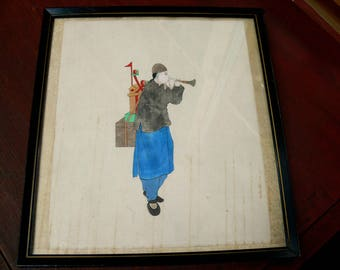 Vintage Original Chinese Pen and Ink Watercolor on Paper, Framed