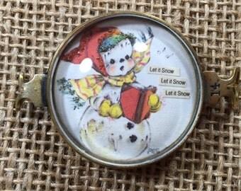 Vintage Handcrafted Let it Snow Snowman Bracelet piece