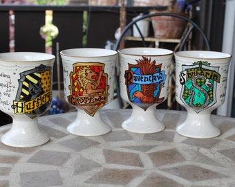 Hogwarts House Goblets - Sold individually or together - Large, cream, pedestal goblets - Ravenclaw, Slytherin mugs cracked - Harry Potter