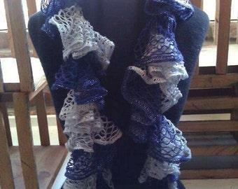 SALE--Crochet Ruffle Scarf--Navy & Silver--Sashay Scarf--Boutique Scarf--CHRISTMAS SALE