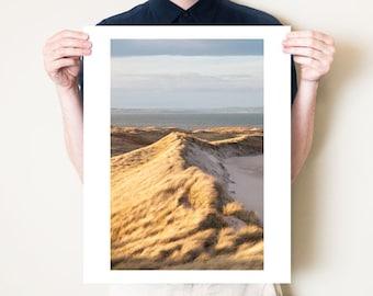 Beach landscape photography. Holy Island, Lindisfarne, Northumberland sand dune photograph. Coastal artwork. Small / large fine art photo