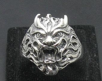 Sterling silver solid 925 devil skull ring biker pendant