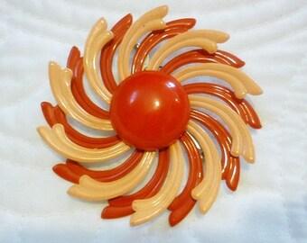 Coral Orange Enamel large Flower Brooch,Spiral Enamel Flower Pin