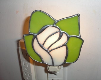 LT Stained glass, white Rose, night light, lamp, made with lime green and white opal glass