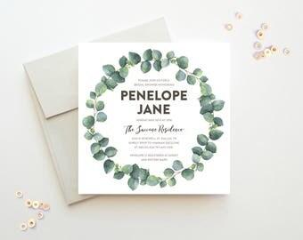 Botanical Invitation, Eucalyptus Invitation, Green Bridal Shower, Rustic Bridal Shower Invitation, Unique Bridal Shower Invitations, Bridal