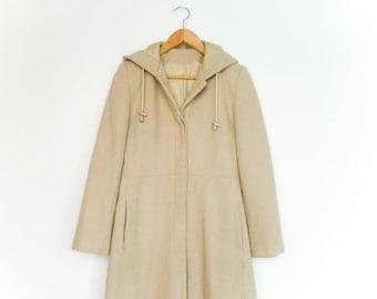 Vintage Beige Coat / Womens Coat Long Jacket / Spring / Hood / Knee Lenght / small medium