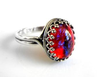Sterling Silver Fire Opal Ring Dragons Breath Statement Ring Wiccan Jewelry Gothic Jewelry Victorian Jewelry Fire Opal Jewelry Unique Ring
