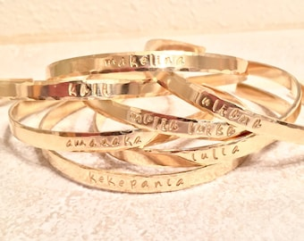 Hawaiian Jewelry, Hawaiian Bracelets, Hand Stamped Jewelry, Hula Gifts, Hawaii Bracelet, Ku'uipo Bracelet, Ohana Bracelet, Skinny Cuff