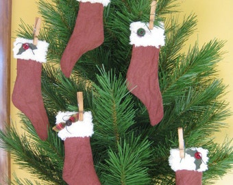 Primitive Christmas Stocking Ornaments - Set of 5 - Grungy Fabric - Primitive Christmas Ornies - Holiday Decor - Stocking Decorations