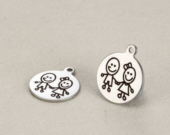 15 pcs little boy and girl charm Engraved stainless steel charms  -G0297-anti tarnish never bauble