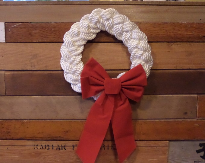 "12"" White Rope Knotted Wreath Nautical Decor Door Hanging Holiday Decoration Beach Decor Red Bow"