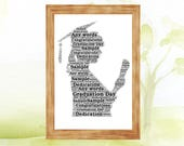 Graduation Lady Personalised Word Art Print Gift Congratulations