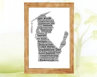 Graduation Lady Personalised Word Art Print Gift Congratulations