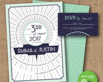 Wedding Invitation - DIY Custom Printable - Art Deco Circles - Navy and Mint