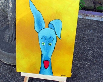 Greyhound galgo original acrylic painting blue yellow silly old greyhound 5x7 canvas