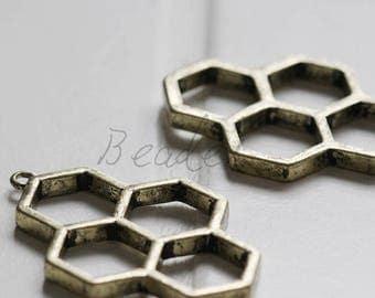 4 Pieces / Honeycomb / Antique Brass Tone / Base Metal / Charm (C312C//J297)