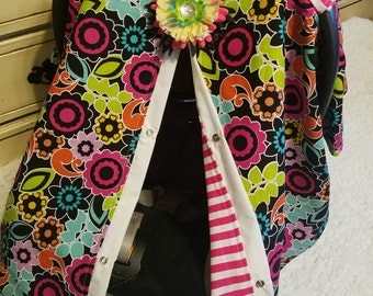 Carseat Canopy Bright Floral Stripe Carseat Cover READY TO SHIP