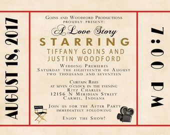 Custom Wedding Invitation Listing for Chelsea Buckner - Antique Movie Theater - Red and Gold - Old Hollywood