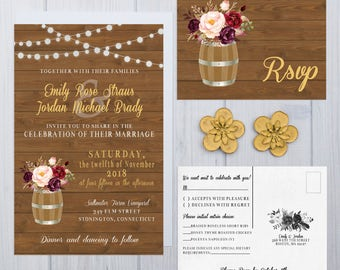 Wine Barrel Wedding Invitations | Rustic Wood Plank Invite Set | String Light Wedding Invitation | Boho Wedding Invites | Cranberry Wedding
