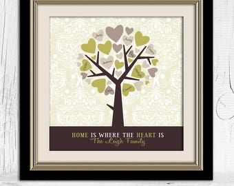 Mother's Day Family Tree | Personalized Heart Tree | Mom Gift |  Family Tree for Mom | Gift for Grandma | Gift for Her | Grandparents Gift