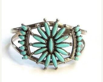Vintage Southwestern Turquoise Sterling Silver Cuff Bracelet Sunburst Design