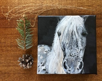 READY TO SHIP: 8x8 Oiginal Dapple Grey Horse Pony Art Horses Equine Modern Black and White
