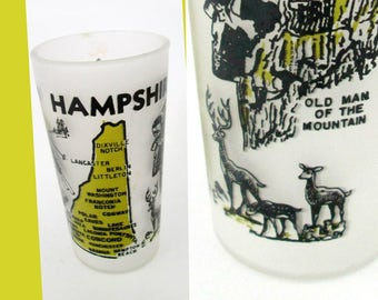 Hazel Atlas New Hampshire Frosted Tumbler // Old Man of the Mountain // Vintage New England Collectible