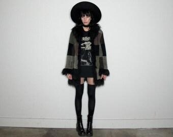 Patchwork SUEDE Leather Vintage Faux Fur 90s GOTH Jacket Womens Size S/M