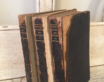 Antique Rustic Book Stack from 1916 - Tattered Small Sized Books - Leather Covers - Instant Library