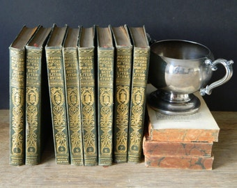 Masterpieces of the World's Best Literature. Little set of antique books. Victorian Library. Home decor. Cottage.