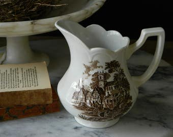 Royal Staffordshire Brown Transferware Ironstone Pitcher, Creamer. Meakin.